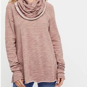 Free People Beach Corps Deux Red Cowl Neck Sweater